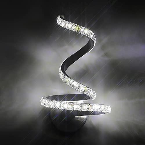 Osairous LED Lampada da Parete in Cristallo, 12W Applique da Parete in Alluminio stile Nordico, Applique in K9 Cristallo per Camera da Letto Soggiorno Comodino Bianco Freddo