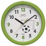 JVD HP612.D4 Wanduhr für Kinder Fußball grün Kinderwanduhr Fußballuhr
