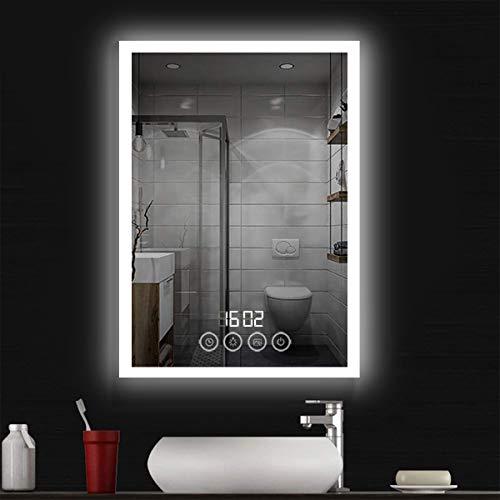 COCOFLY LED Specchio da bagno Specchio da parete Premium Specchio per trucco Illuminato Luce a LED con interruttore a sfioramento 4 scene, visualizzazione del tempo, 50x70 cm
