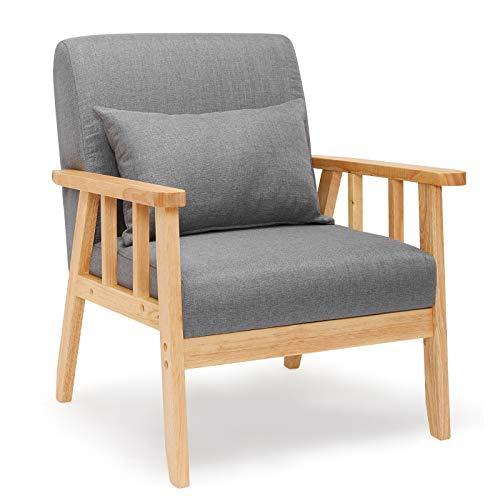 Meerveil Sessel Leinen Massivholzrahmen Retro mit Kissen für Schlafzimmer Wohnzimmer Balkon Büro Dunkelgrau