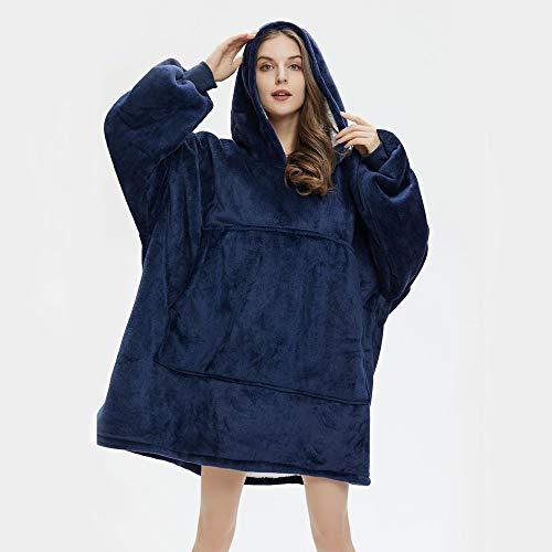 Manta con capucha, manta de gran tamaño, lavable y cómoda, con capucha y bolsillo frontal grande para adultos.