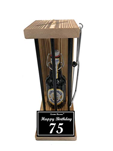 * Happy Birthday 75 Geburtstag - Eiserne Reserve ® Black Edition Flensburger Pilsener 0,33L incl. Säge zum zersägen der Stäbe - Die lustige Geschenkidee