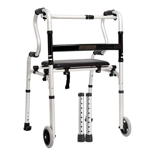 FGSJEJ Walker mit Sitz, Aluminium vierbeinigen Gehstock, geeignet for Behinderte, ältere Menschen, höhenverstellbar, rutschfest, ohne Räder, mit Rädern Zwei Optionen (Color : Silver2)