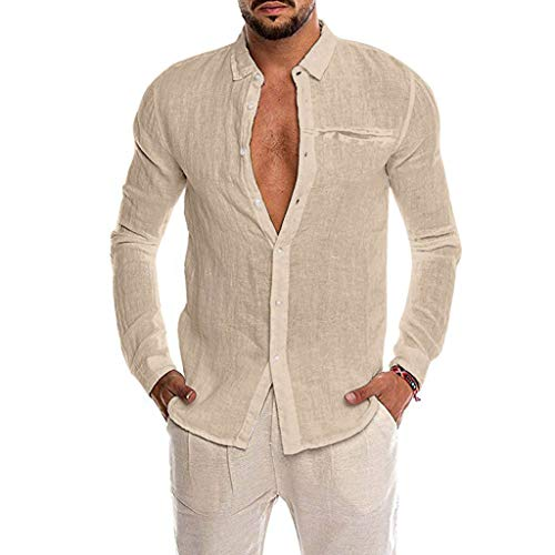 Bestyyo Herren Einfarbig Langarm Imitation Hanf Pocket Revers Shirt Lose Baumwollmischung der Männer Normallack-Knopf-Taschen-langes Hülsen-Hemd übersteigt Bluse (Khaki, XL)