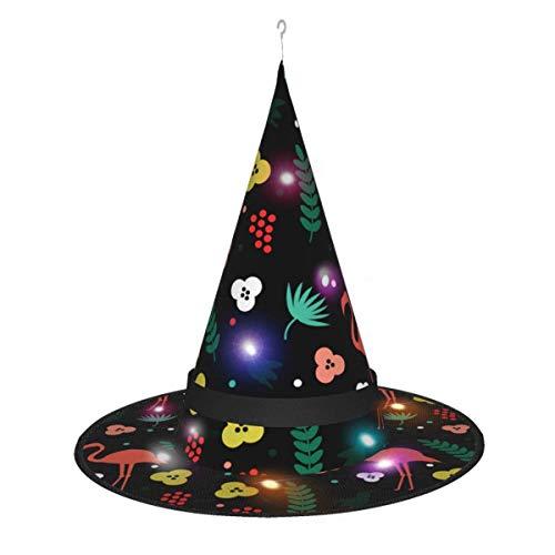 leyhjai Simple Flamenco patrn de Planta Tropical Colgante Iluminado Brillante Bruja Sombreros Accesorio de Disfraz de Halloween para Fiesta de Halloween