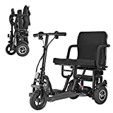 MUJO Portable Travel Scooter 3-Wheel Foldable Electric Mobility Scooter Elderly/Disabled/Outdoor Travel Electric Scooter Lightweight Mobile Support 120kg Weight Only 25kg Long Range(20km)