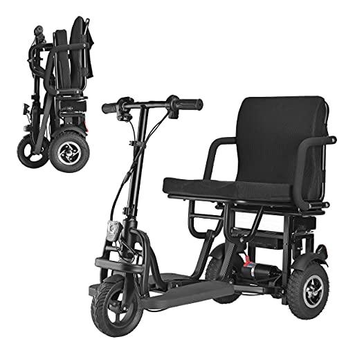 MUJO Tragbarer Reise-Scooter mit 3 Rädern, zusammenklappbar, für ältere Menschen / Behinderte / Outdoor-Reisen, leicht, mobil, unterstützt 120 kg, Gewicht nur 25 kg, lange Reichweite (25 km)