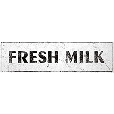 iCandy Combat Fresh Milk Sign Rustic Farmhouse Country Kitchen with Vintage Shabby Chic On 5x18 Aluminum