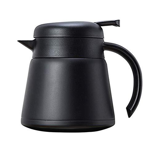 CAheadY 800ml doppelwandige wärmeisolierte Wasserkocher Kaffeemaschine Edelstahl Teekanne Black