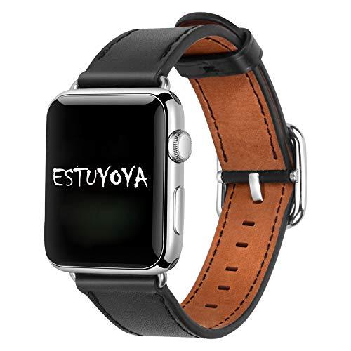 Estuyoya - Pulsera de Piel compatible con Apple Watch Diseño de Cuero Fino y Elegante Exclusivo Cierre Hebilla Acero Inoxidable para 42mm 44mm Series 6 / 5 / 4 / 3 / 2 / 1 / SE - Negro