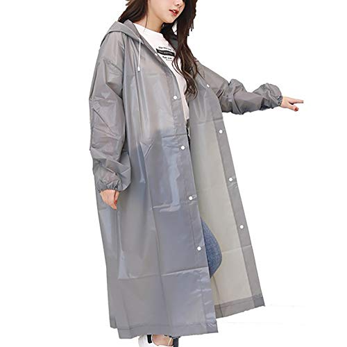 G&F Réutilisable Imperméable avec Capuche Et Manches Poncho Pluie Portable Vêtements Pluie pour Extérieur 150g (Color : Gray)