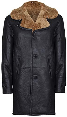 Infinity Leather Männer Braun Lang Echt Shearling Ingwer Schaffell Leder Mantel mit Gürtel XL