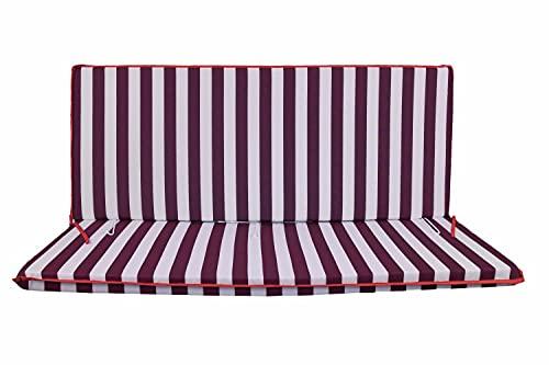 Cuscino Fasciato per dondolo 4 posti 170*55*6 cm imbottito e rivestito in cotone totalmente sfoderabile compreso di schienale e seduta (Bianco e bordeaux)