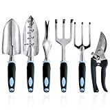 wanyi Garden Tool Set, 6-Piece Aluminum Lightweight Gardening kit with Soft Rubber Anti-Skid Ergonomic Handle, Garden Gift kit (Black/Blue)