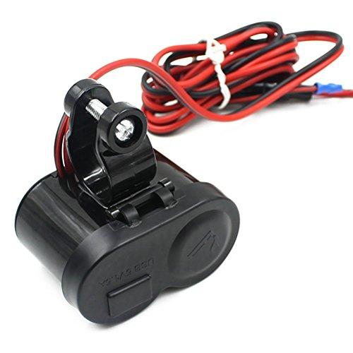 NUOLUX 12-24V Moto Moto USB Port d'Alimentation d'Alimentation Allume Cigare Prise Chargeur pour téléphone Portable/MP3 Sat (Noir)