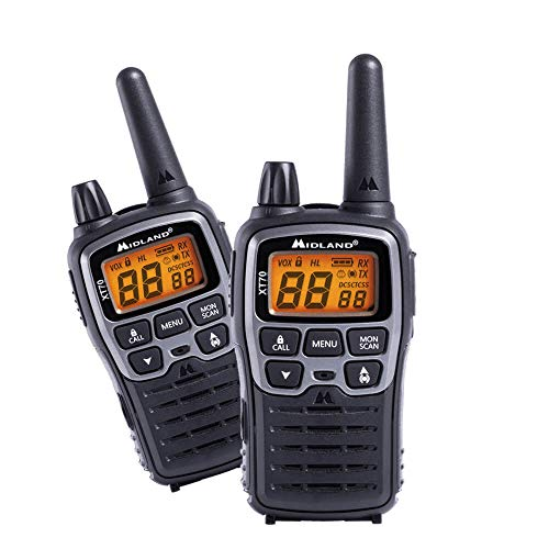 Midland XT70 24channels 446.00625-446.09375MHz Negro, Gris Two-Way radios - Walkie-Talkie (24 Canales, 446.00625-446.09375, LCD, AAA, Alcalino, 113 g)