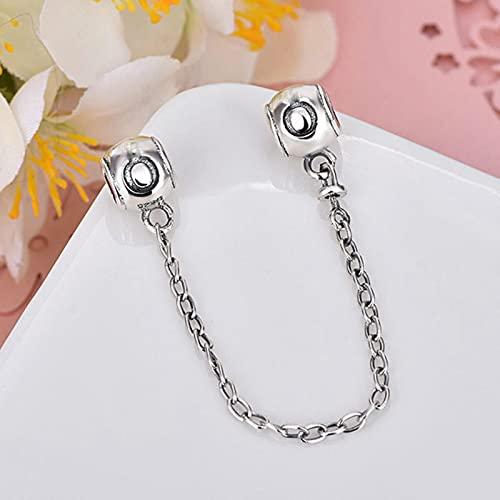QWESD Cadena de Seguridad de Flores con Brillo Transparente, abalorio Compatible con Pulsera Original, Colgante, joyería DIY para mujeres-WJ749