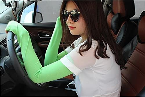 Summer thin section driving UV protection cycling half finger long sunscreen gloves sleeve sunshade outdoor sports arm set -Fruit Green-Length 52CM