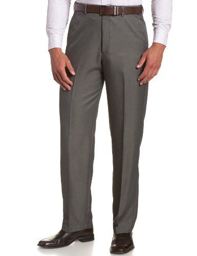 Haggar Men's Cool 18 Hidden Expandable-Waist Plain-Front Pant Graphite 38x31
