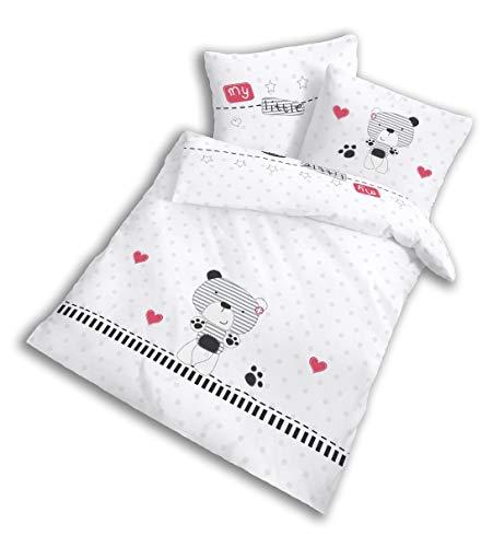 BÄRCHEN Baby Bettwäsche Set für Mädchen & Jungen Teddy my little bear - Kissenbezug 40x60 + Bettbezug 100x135 cm