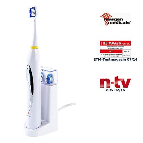 newgen medicals Elektrische Zahnbürste: Elektrische Ionen-Schallzahnbürste mit Ladestation und 2 Bürstenköpfen (Elektronische Zahnbürste)