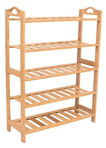 BIRDROCK HOME Free Standing Bamboo Shoe Rack with Handles - 5 Tier - Wood - Closets and Entryway - Organizer - Fits 15 Pairs of Shoes