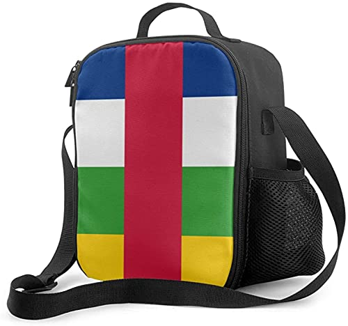 Isolierte Lunchtasche mit Flagge der Zentralafrikanischen Republik, auslaufsicher, flach, Kühltasche mit Schultergurt für Damen & Herren, geeignet für Arbeit & Büro