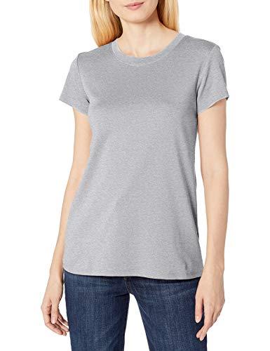 Amazon Brand - Lark & Ro Women's Pima Cotton T-Shirt: Crew Neck & V-Neck, Light Grey Heather, XS