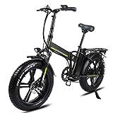 Bicicleta eléctrica plegable for adultos 20 pulgadas 4.0 Bicicleta eléctrica de neumático de grasa 500W / 750W con 48V 15Ah Bicicleta eléctrica plegable de batería ( Color : 48v 500w 20Ah Black )