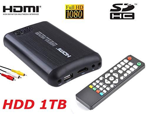 Mediacenter box player multimediale memoria 1TB HDMI Full-HD Mkv Usb 3.0 Host Sd Rca Casa Auto 12v 220v