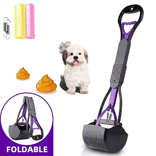 Dioxide Long Handle Pet Pooper Scooper for Large & Small Dogs and Cats,Foldable Pet Poop Waste Pick Up Tool for Grass,Gravel,and Cement,High Strength Durable Spring & Premium Materials