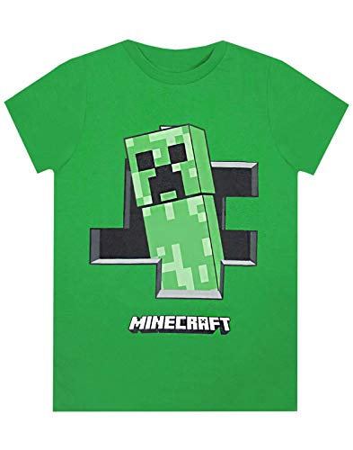 Minecraft Creeper Inside Boys Camiseta de Manga Corta Verde para Jugadores