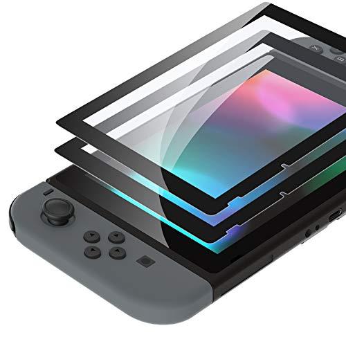 eXtremeRate 2 Pellicola Protettiva per Nintendo Switch,Vetro Temperato Protezione Schermo Nero Bordo Trasparente HD Chiaro (Antigraffio,Anti-Impronta Digitale,Infrangibile,Senza Bolle)