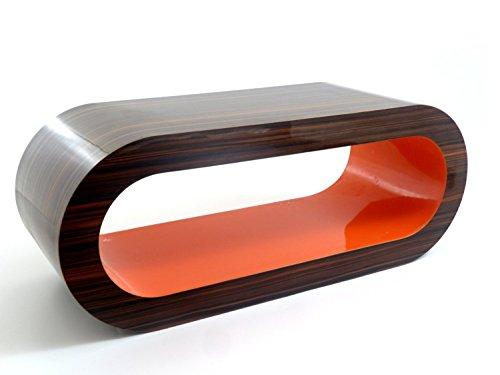 Zespoke Design Moyenne Brillant Rétro Haute Rayé Orange Noix 90cm Table Basse Cerceau Stand Intérieure/TV