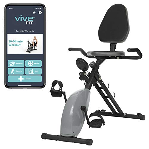 Vive Stationary Bike (App Included) - Upright X Exercise Cycle Machine - Foldable Magnetic Resistance Home Cycling Equipment - Indoor Cardio Workout For Men, Women, Elderly - Digital Display Trainer