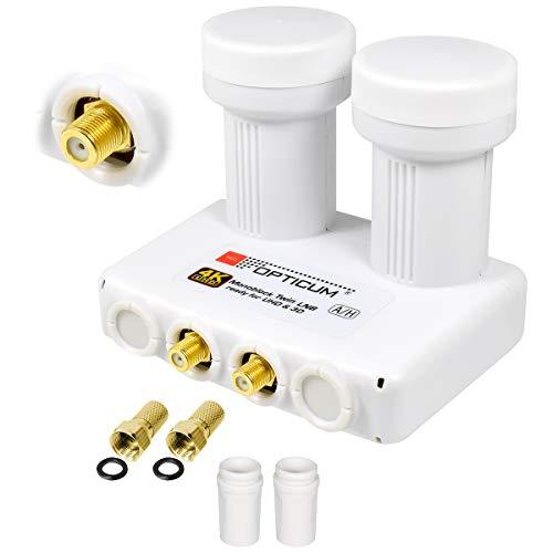 Monoblock TWIN LNB 0,1 dB Doppel DIGITAL SET 2 Teilnehmer Direkt 2 Sat Astra 19,2° Hotbird 13° LMB LNC FULL HD TV 3D Ultra HD 4K SKY + 2 x Gummitülle + 2 x F-Stecker vergoldet OPTICUM / GLOBO + DiSEqC integriert