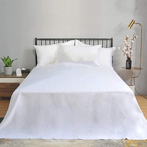 JRAVELR Weiße Bettlaken Set Baumwolle Bettwäsche 2 Kissenbezüge (50x80cm) Niedrige Statische Spannbetttuch Für Einzel- Oder Doppelbett 215x280cm
