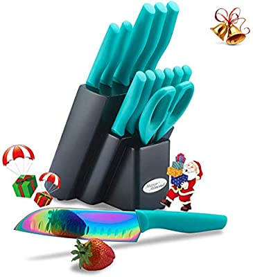 DISHWASHER SAFE Rainbow Titanium Cutlery Knife Set, Marco Almond KYA27 Kitchen Knives Set with Wooden Block, Rainbow Titanium Coating,Chef Quality for Home & Pro Use, Best Gift,14 Piece Turquoise by Marco Almond