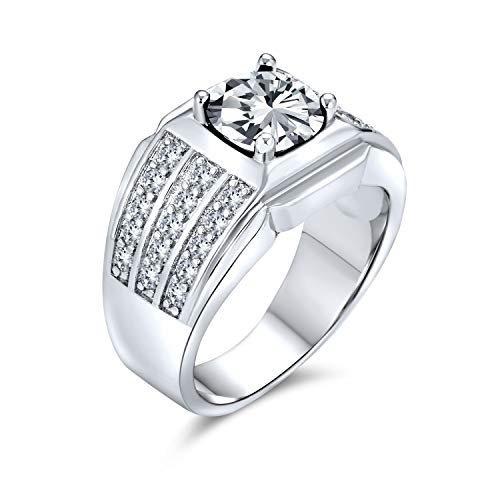 Bling Jewelry AAA Cubic Zirconia Pinky Ring 3 Row Pave 3 CT CZ Solitaire Mens Engagement Ring Wide Band Silver Plated Brass