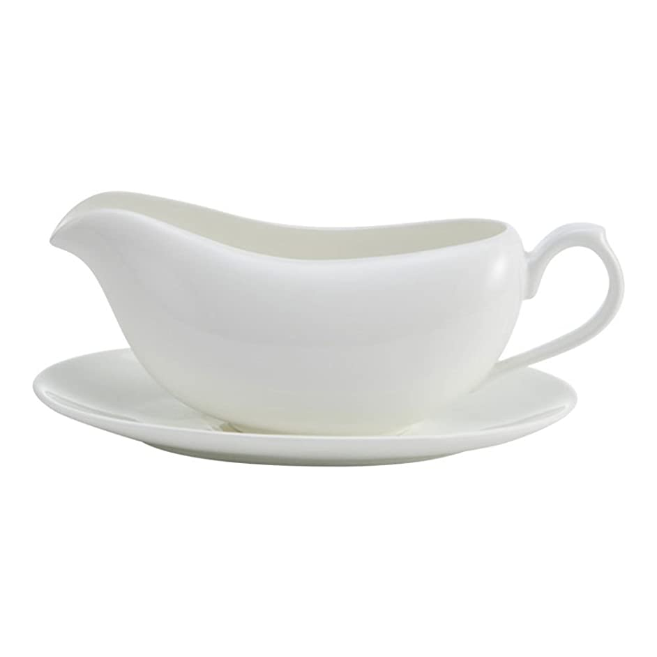 Mikasa Lucerne White Gravy Boat with Saucer