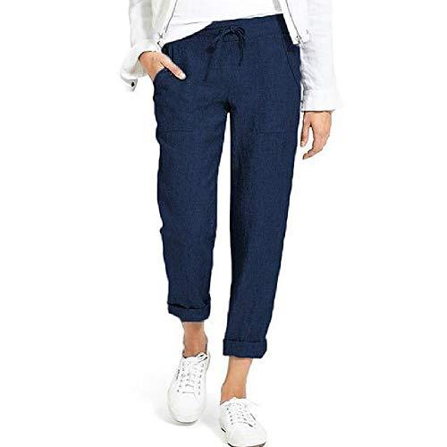 N\P Algodón De Lino Pantalones De Las Mujeres Pantalones Sueltos Casual Color Sólido De Las Mujeres Pantalones Harem Mujer Capris Verano Otoño Pantalones