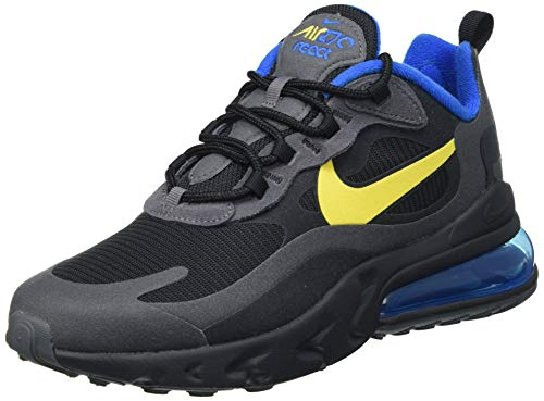 Nike Air Max 270 React, Scarpe da Corsa Uomo, Black/Tour Yellow-Dark Grey-Blue Spark, 43 EU