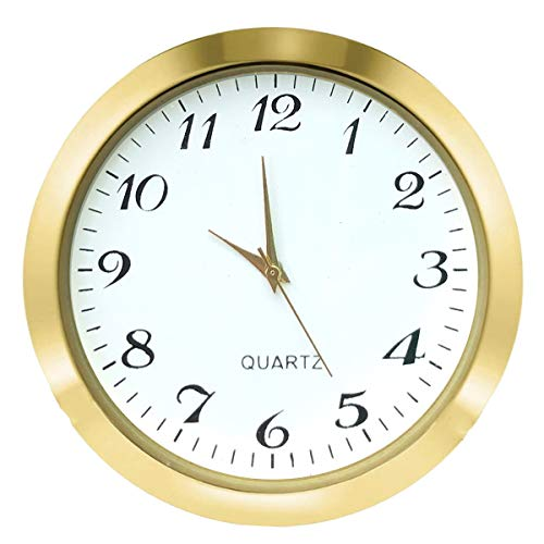 Mini-Uhr-Einsatz 2-1/8 Zoll (55 mm) rundes Quarzwerk Miniatur-Uhr weißes Zifferblatt goldfarbene Lünette arabische Ziffern passen 1,97 Zoll (50 mm) Durchmesser Loch
