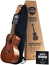 Official Kala Learn to Play Ukulele Concert Starter Kit, Satin Mahogany – Includes online lessons, tuner app, and booklet (KALA-LTP-C)