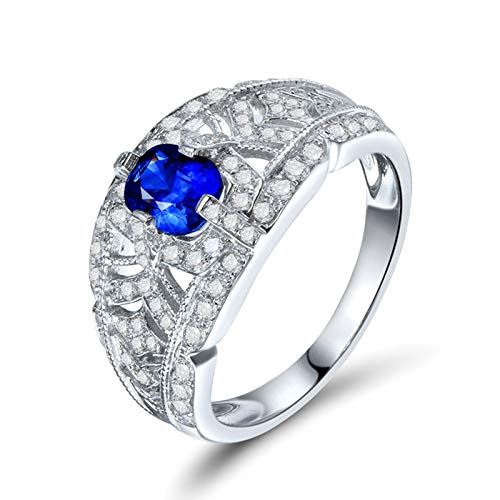 Daesar Anillos Oro Blanco Mujer 18K,Redondo Hueco con Oval Zafiro Azul 0.82ct Diamante 0.53ct,Plata Azul Talla 16