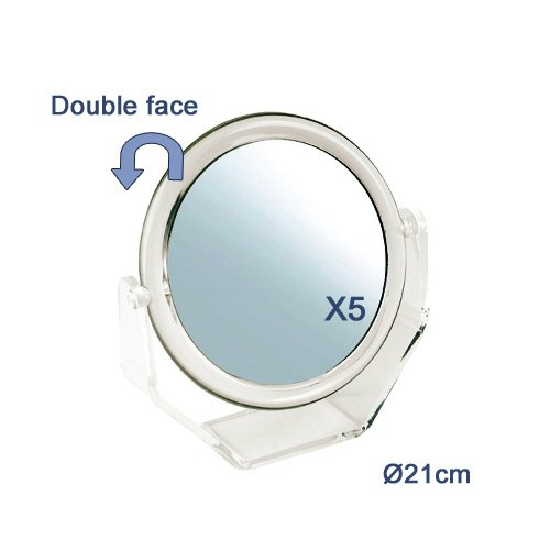 Sibel – Miroir Double Transparent, 21 cm 15 GR