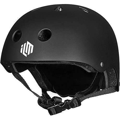 ILM Adults Skateboard Helmet Impact Resistance Ventilation for Skateboarding Scooter Outdoor Sports(Matte Black,L XL