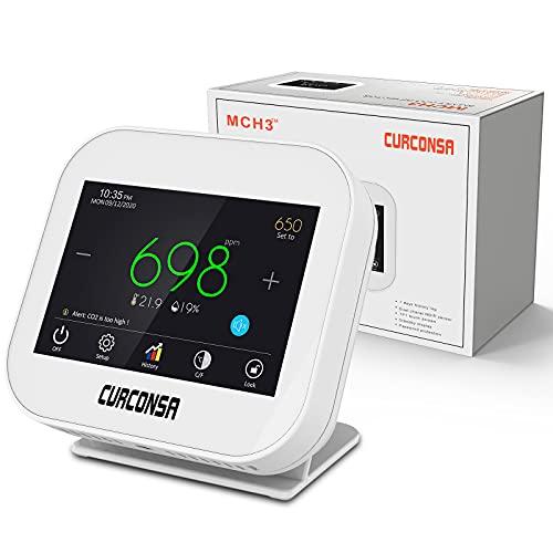 CO2 Messgerät,CURCONSA CO2-messgerät mit Umgebungstemperatur, Luftfeuchtigkeit und Uhr,Zweikanaliger NDIR-CO2-Sensor,Kapazitiver 3,5-Zoll-TFT-Farb-Touchscreen.(Adapter Muss Angeschlossen Werden)