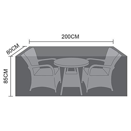 Nova Outdoor Living Garden Table Chairs Patio Furniture PVC Protector Weatherproof Cover For Large Bistro Set, Black, W: 200cm (79') D: 80cm (31') H: 85cm (33')