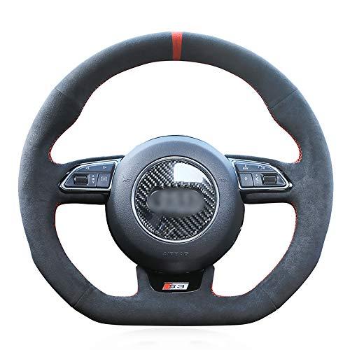 HCDSWSN Auto Lenkradhüllen,Für Audi S1 8X S3 8V Sportback S4 B8 Avant S5 8T S6 C7 S7 G8 RS Q3 8U SQ5 8R Schwarz Wildleder Red Marker DIY Auto Lenkradabdeckung